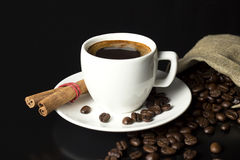 Cup and burlap Stock Image