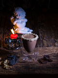 Cup of cacao with chocolate Royalty Free Stock Images