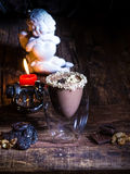 Cup of cacao with chocolate Stock Image
