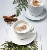 Cup of cacao dark hot chocolate winter coffe milk latte cappuchino christmas tree morning stock photo