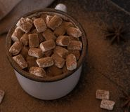 Cup of cacao with marshmallow anis christmas winter cozy. Cup of cacao with marshmallow and cinnamon anis christmas winter cozy top view royalty free stock photo