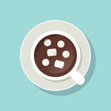 Cup of cacao with marshmallows and ground cinnamon. Top view Stock Photography
