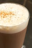 Cup of cafe latte. A cup of cafe latte with foam and cinnamon. Shot with a macro lens, the foam is in focus Royalty Free Stock Photography