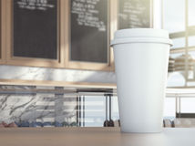 Cup on cafe table Stock Image