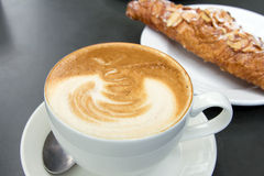 Cup of Caffe Latte Closeup Royalty Free Stock Images