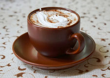 Cup of caffe mocha. Brown cup of caffe mocha. Mocaccino Royalty Free Stock Photography