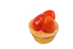 Cup cake. Isolated strawberry cup cake with strawberry Stock Photos