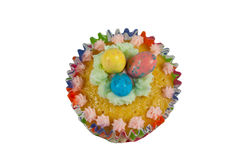 Cup Cake. Decorated with suggar eggs for easter royalty free stock photo