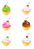 Cup cake. Collection of cup cake illustrations Stock Photo