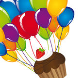 Cup cake with balloons. Over white background. vector Royalty Free Stock Photos