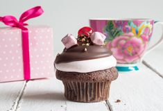 Cup Cake Birthday Celebration Background - Chocolate Cupcake Wit Stock Image