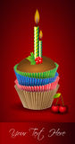 Cup cake and candle. Colorful cup cake and candles nested containers Stock Photos