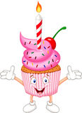Cup cake cartoon with candle Royalty Free Stock Photos