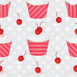 Cup cake cherry cream symmetry seamless pattern. This illustration is cup cake with cherries fruits and creams symmetry with dotted on grey and white colors Stock Photography