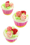 Cup cake with cream rose flower Stock Photography