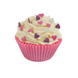 Cup cake decorated. Isolated cup cake decorated with colorful hearts Royalty Free Stock Image