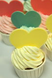 Cup cake with heart shaped decoration Royalty Free Stock Photo