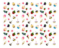 Cup cake, ice cream and fruit seamless Royalty Free Stock Image