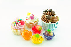 Cup Cake and jelly Stock Photo