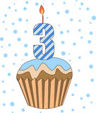 Cup cake with numeral candles Royalty Free Stock Photos