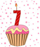 Cup cake with numeral candles. Illustration Stock Photo