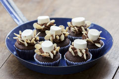 Cup Cake on pan. Chocolate cupcake with almond and marshmallow on vintage pan Stock Image