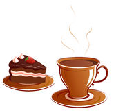 Cup and cake. A piece of cake and a cup Royalty Free Stock Photo