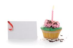 Cup cake, with pink candle Stock Photography