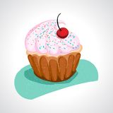 Cup cake with pink cream Royalty Free Stock Image