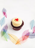 Cup cake with pretty leaves background Royalty Free Stock Image