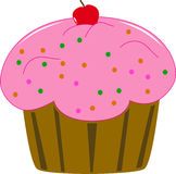 Cup cake with red  cherry Royalty Free Stock Image