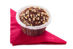 Cup Cake with Red Napkin Stock Photos