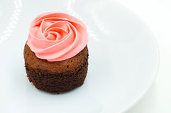 Cup cake rose cream Royalty Free Stock Photography