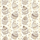 Cup cake seamless hand drawn pattern Stock Photography