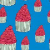 Cup cake seamless pattern Stock Photo
