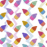 Cup cake seamless pattern Royalty Free Stock Images
