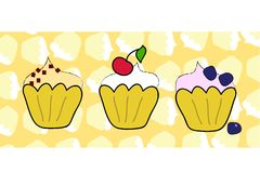 Cup cake set with muffin background Stock Image