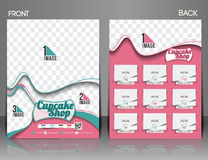Cup Cake Shop Flyer. Cup Cake Shop Front & Back Flyer Template Stock Images