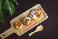Cup cake strawberry with vol au vent strawberry and danish squar Royalty Free Stock Photo