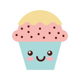 Cup cake sweet kawaii character Royalty Free Stock Images