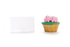 Cup cake with tag Stock Photo