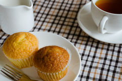 Cup Cake for Tea Break. Butter cup cake and a cup of tea is easy meal for tea Break time Stock Image