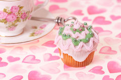 Cup cake and tea cup Stock Photography