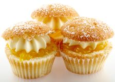 Cup cakes. 3 cup cakes on white Stock Photography