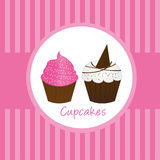 Cup cakes. Pink cute cup cakes over pink background. vector Stock Image