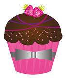 Cup cakes. Chocolate cute cup cakes over white background. vector Royalty Free Stock Image