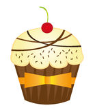 Cup cakes. Vanilla cute cup cakes over white background. vector Royalty Free Stock Image