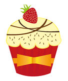 Cup cakes. Vanilla  cup cakes with strawberry over white background. vector Stock Photos