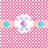 Cup cakes. Pink cute cup cakes over pink background. vector Stock Images