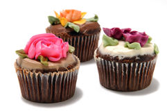 Cup cakes. With flower frosting Stock Photography